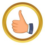 Hand with thumb up icon. In golden circle, cartoon style isolated on white background stock illustration