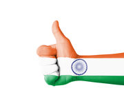 Hand with thumb up, India  flag painted Stock Photos