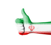 Hand with thumb up, Iran  flag painted Stock Images