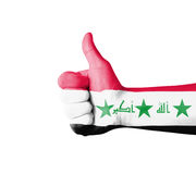 Hand with thumb up, Iraq  flag painted Royalty Free Stock Photography