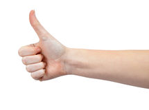 Hand with thumb up. Isolated on white background Stock Image