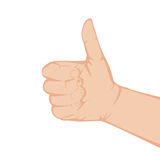Hand with thumb up. Isolated on white background, illustration vector illustration