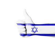 Hand with thumb up, Israel  flag painted Royalty Free Stock Photo