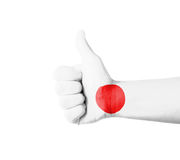 Hand with thumb up, Japan  flag painted Stock Photos