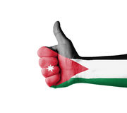 Hand with thumb up, Jordan  flag painted Stock Images