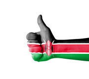 Hand with thumb up, Kenya  flag painted Royalty Free Stock Photography