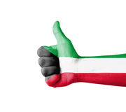 Hand with thumb up, Kuwait  flag painted Stock Photography