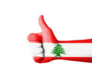 Hand with thumb up, Lebanon  flag painted Stock Photography