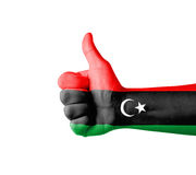 Hand with thumb up, Libya  flag painted Stock Photos