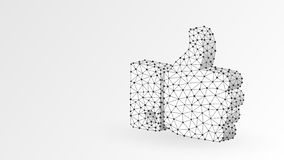 Hand Thumb Up like gesture. Business communication, approving, agreement concept. Abstract, digital, wireframe, low poly. Mesh, vector white origami 3d vector illustration