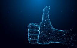 Hand with thumb up and like sign from particles, lines and triangles on blue background. stock illustration