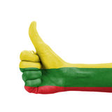 Hand with thumb up, Lithuania flag painted Stock Photos