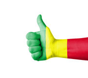 Hand with thumb up, Mali  flag painted Royalty Free Stock Photography