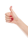 Hand thumb up with manucure red nails Royalty Free Stock Photo