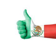 Hand with thumb up, Mexico  flag painted Royalty Free Stock Photos