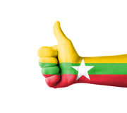 Hand with thumb up, Myanmar  flag painted Stock Image