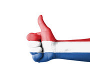 Hand with thumb up, Netherland  flag painted Royalty Free Stock Photos