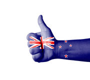 Hand with thumb up, New Zealand  flag painted Stock Photo