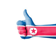 Hand with thumb up, North Korea  flag painted Stock Photos