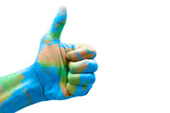 Hand with thumb up and painted with Africa Royalty Free Stock Image