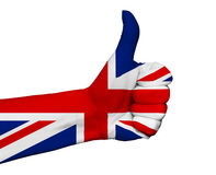 Hand with thumb up painted in colors of Great Britain flag isola Royalty Free Stock Image
