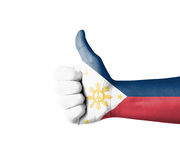 Hand with thumb up, Philippines  flag painted Royalty Free Stock Image