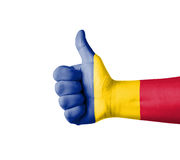 Hand with thumb up, Romania  flag painted Stock Photos