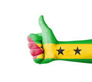 Hand with thumb up, Sao Tome Principe  flag painted Royalty Free Stock Image
