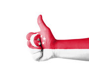 Hand with thumb up, Singapore  flag painted Royalty Free Stock Photography