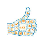 Hand with Thumb up and Social Media Square Icons Royalty Free Stock Images