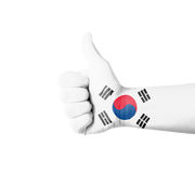 Hand with thumb up, South Korea  flag painted Stock Photo