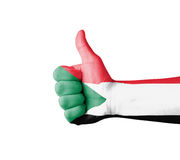 Hand with thumb up, Sudan  flag painted Stock Photos