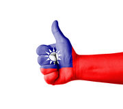 Hand with thumb up, Taiwan  flag painted Royalty Free Stock Image