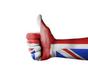 Hand with thumb up, UK (United Kingdom)  flag painted Stock Photography