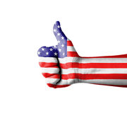 Hand with thumb up, USA  (America)  flag painted Royalty Free Stock Photos