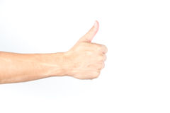 Hand with thumb up on white isolated background Stock Images