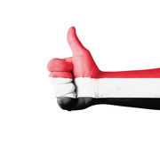 Hand with thumb up, Yemen  flag painted Royalty Free Stock Photography