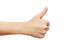 Hand thump up sign isolated on white background Stock Photography
