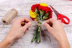 Hand tie a bunch of carnations on a wooden background with threads Royalty Free Stock Photo