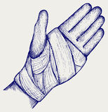Hand tied elastic bandage. Doodle style Stock Photo