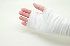 hand tied with elastic bandage Royalty Free Stock Photos