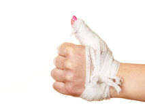 Hand tied elastic bandage on a white background Stock Photography