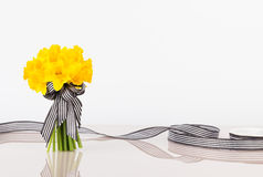 Hand tied tulip bouquet with ribbon Stock Photography