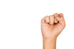 Hand with tightened fist against white background. Stock Images