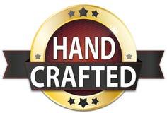 Hand tillverkat guld- metalliskt runt skyddsremsaemblem stock illustrationer