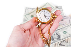 Hand, time and money Stock Images