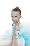 Hand Tinted Ballerina. Hand tinted of black and white image of little ballerina girl wearing a blue tutu Royalty Free Stock Photography