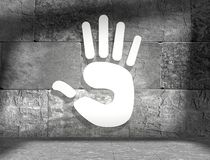 Hand tip. 3d white hand in concrete interior Stock Photo