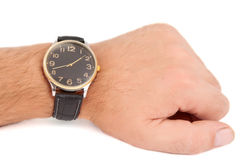 Hand to the clock Royalty Free Stock Image