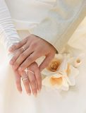 Hand to hand ! Forever!. Just married! Hand to hand forever Stock Photos